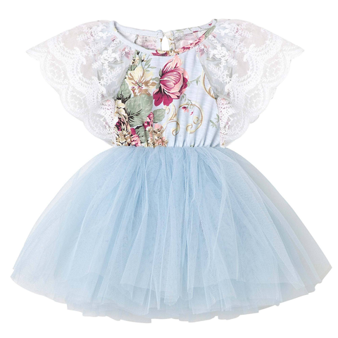 Designer Kidz Sadie Baby Lace Dress Blue
