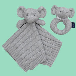Knit Security Blanket & Rattle Set - Grey Elephant