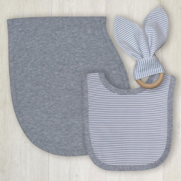 Living Textiles Bib, Burp & Teether Set Grey Stripe