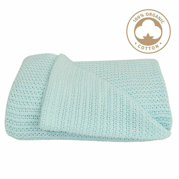 Organic Bassinet Cell Blanket - Aqua