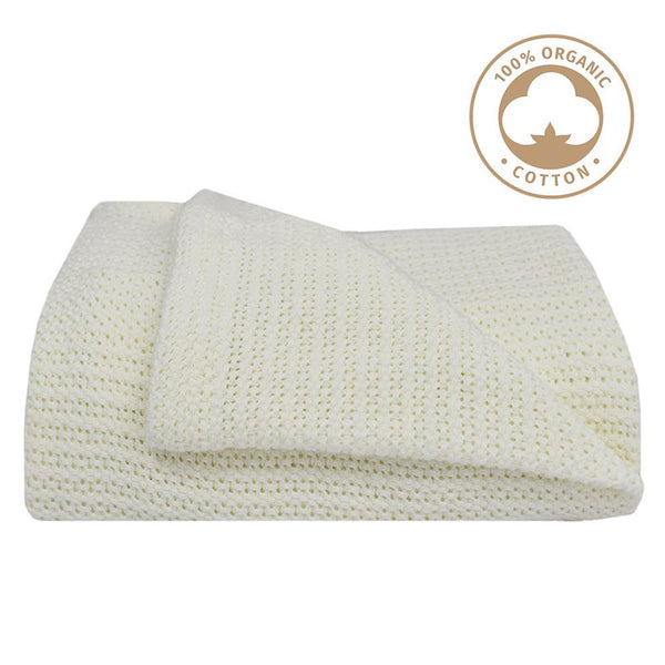 Organic Bassinet Cell Blanket - White