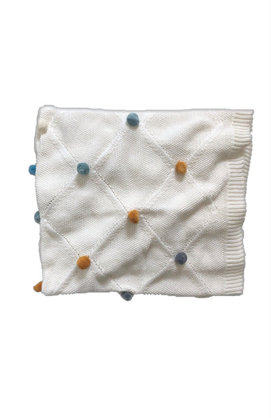 Mini & Me Pom Pom Baby Blanket Multi