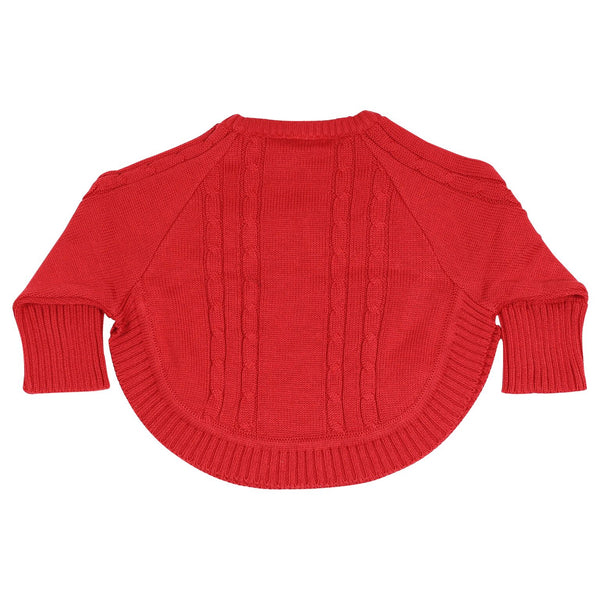 Korango Cable Knit Poncho - Red