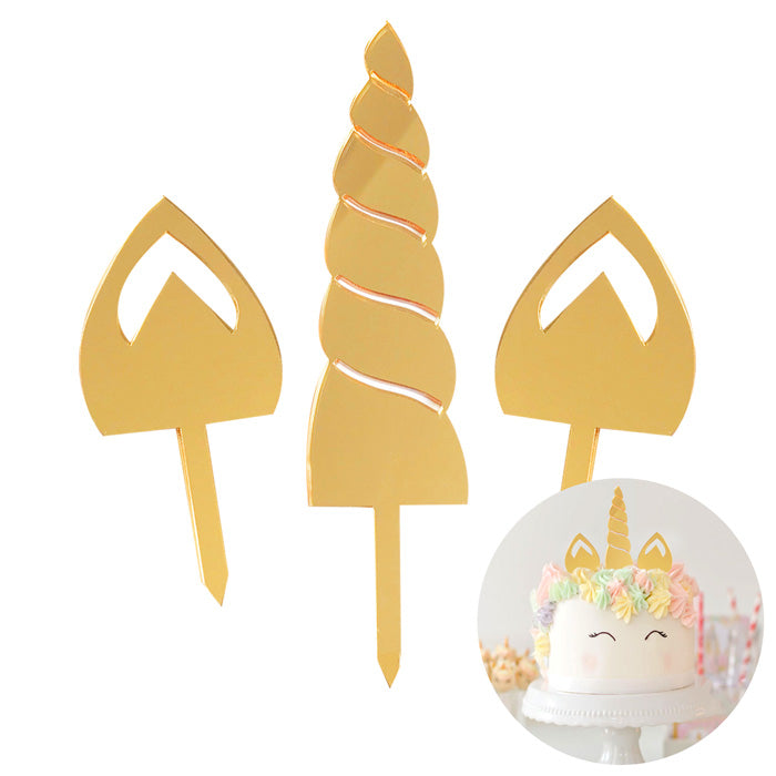 Gold Mirror Unicorn Cake Topper