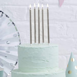 Silver 12cm Tall Candles - Create That Cake