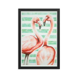 Two to Tango, Flamingo Framed photo paper poster