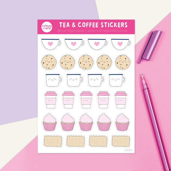 Tea and Coffee Sticker Sheet - Nutmeg and Arlo