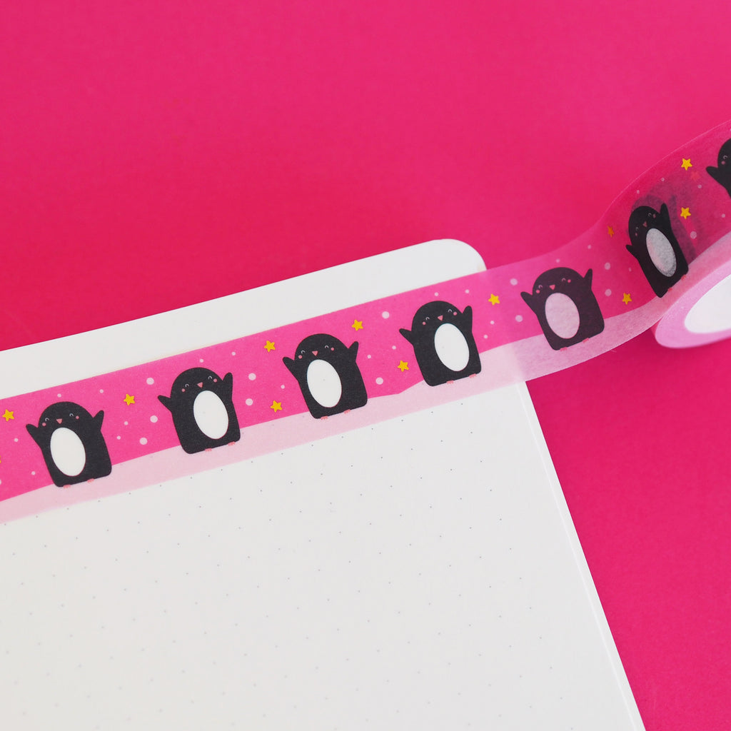 Pink Penguin Christmas Washi Tape - Nutmeg and Arlo