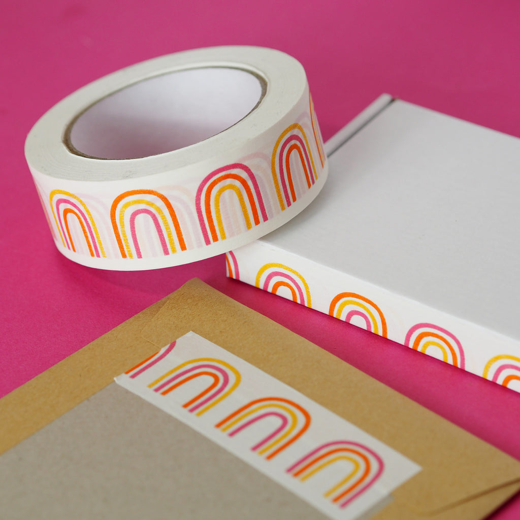 Rainbow Parcel Tape - Nutmeg and Arlo