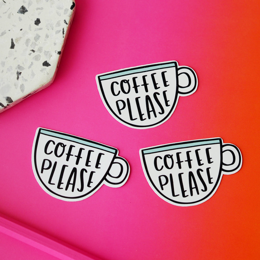 Coffee Please Sticker - Nutmeg and Arlo