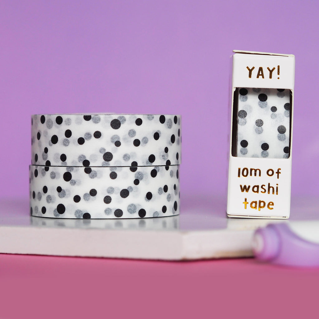 Black Polka Dot Washi Tape - Nutmeg and Arlo