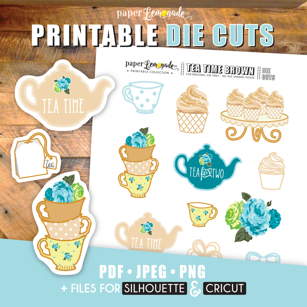 Printable Tea Time Brown Die Cuts