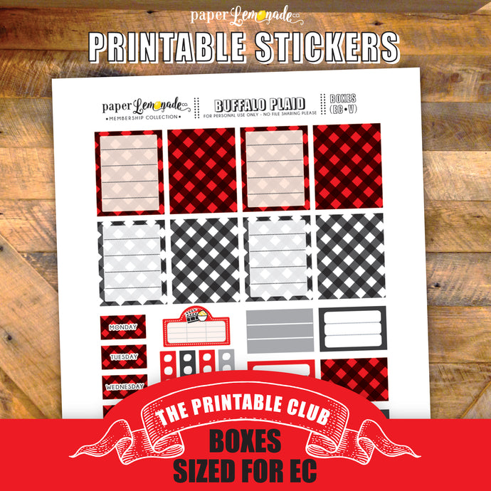 Buffalo Plaid Printable Stickers - Boxes sized for EC