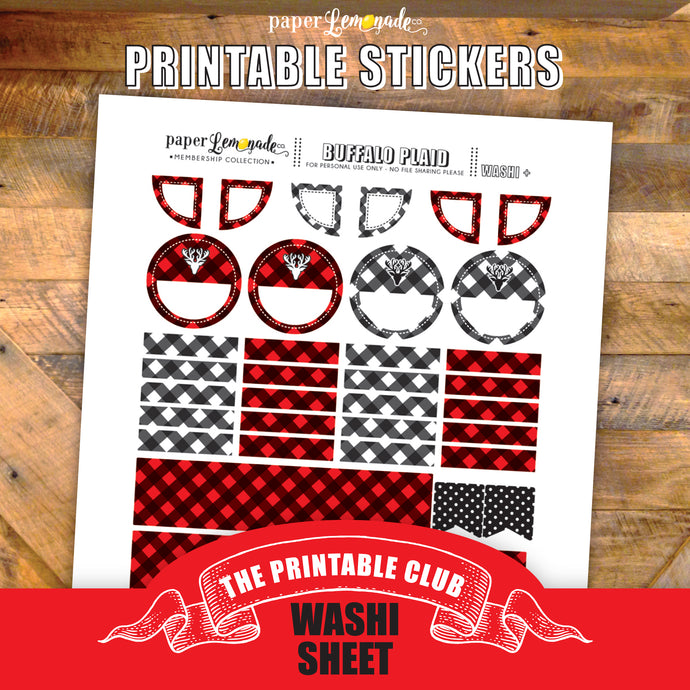 Buffalo Plaid Printable Stickers - Washi Page and more