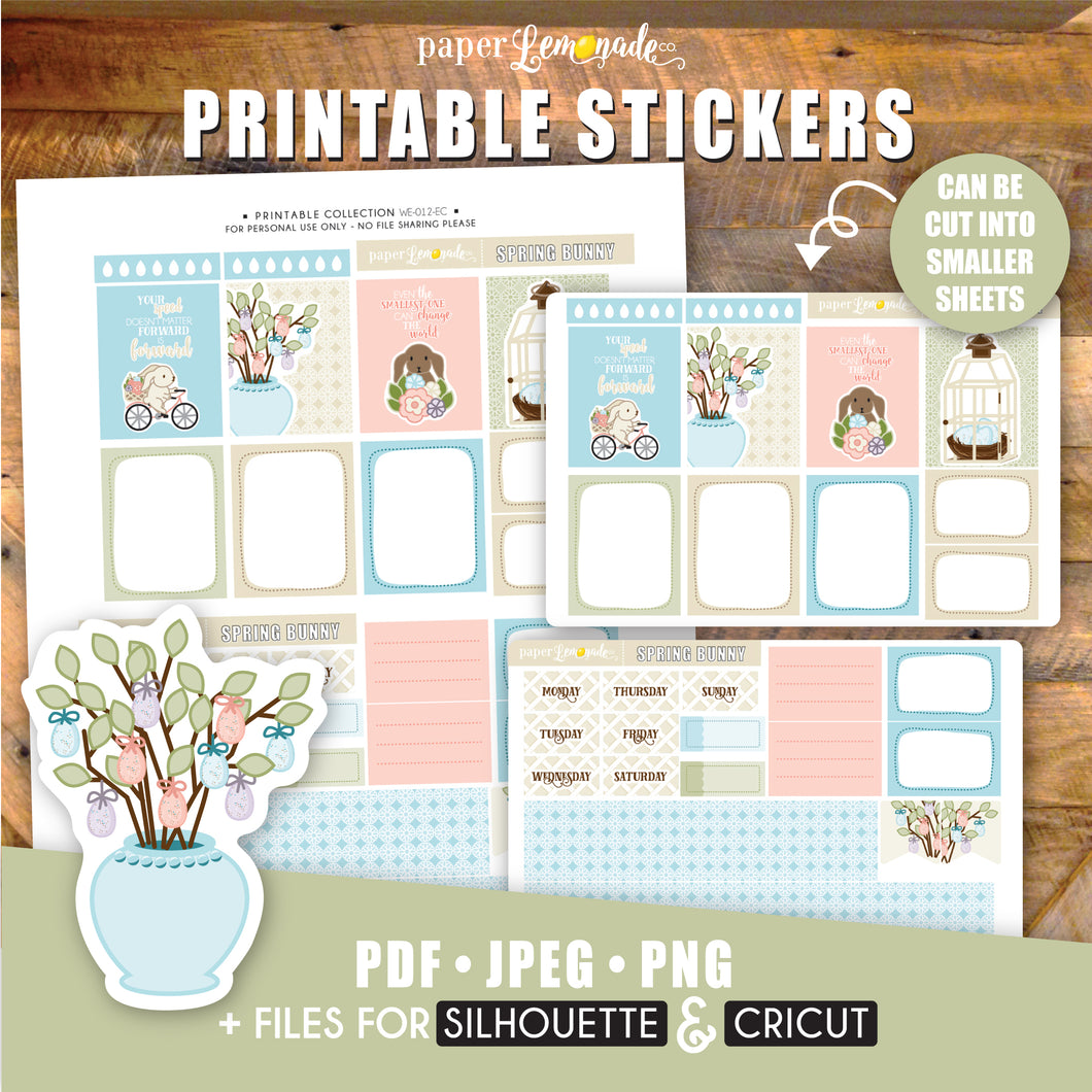 Spring Bunny Printable Stickers - EC Sheet