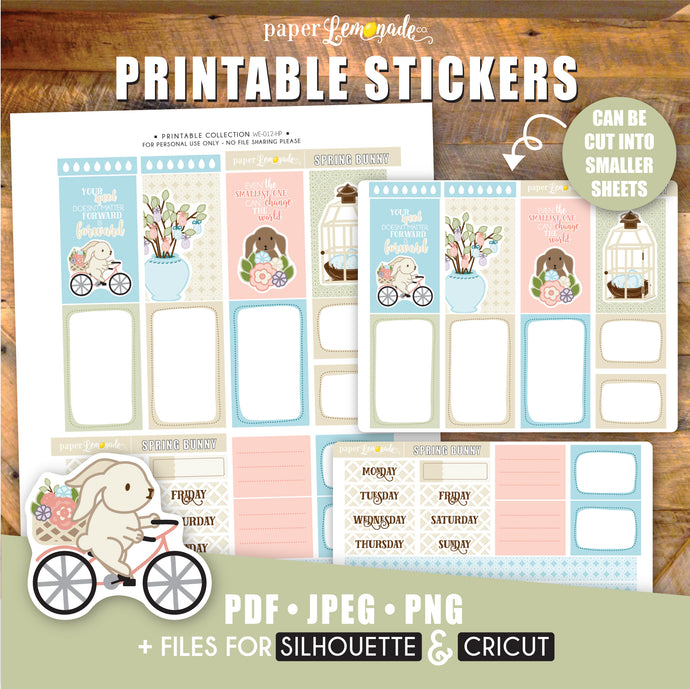 Spring Bunny Printable Stickers - HP Sheet