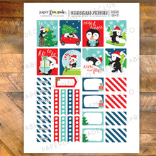 Christmas Penguin Printable Stickers - Box Sheet sized for EC Vertical