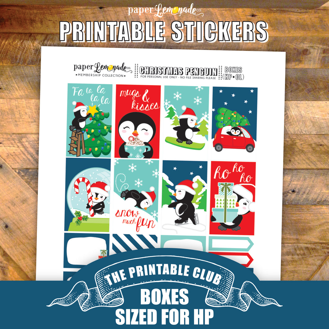 Christmas Penguin Printable Stickers - Box Sheet sized for HP Classic