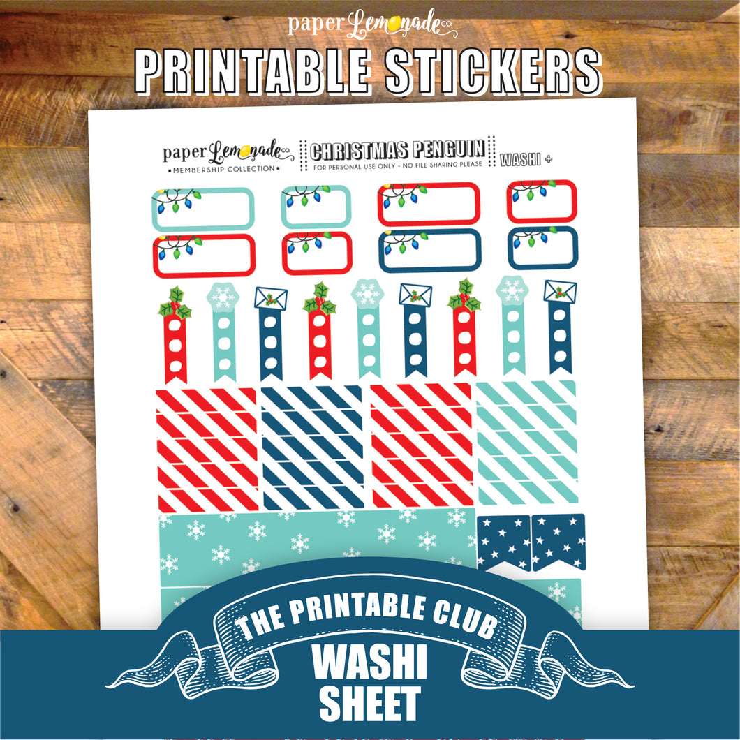 Christmas Penguin Printable Stickers - Washi Page and more