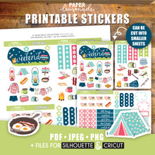 Camping Printable Stickers Weekly Kit - DECO Sheet