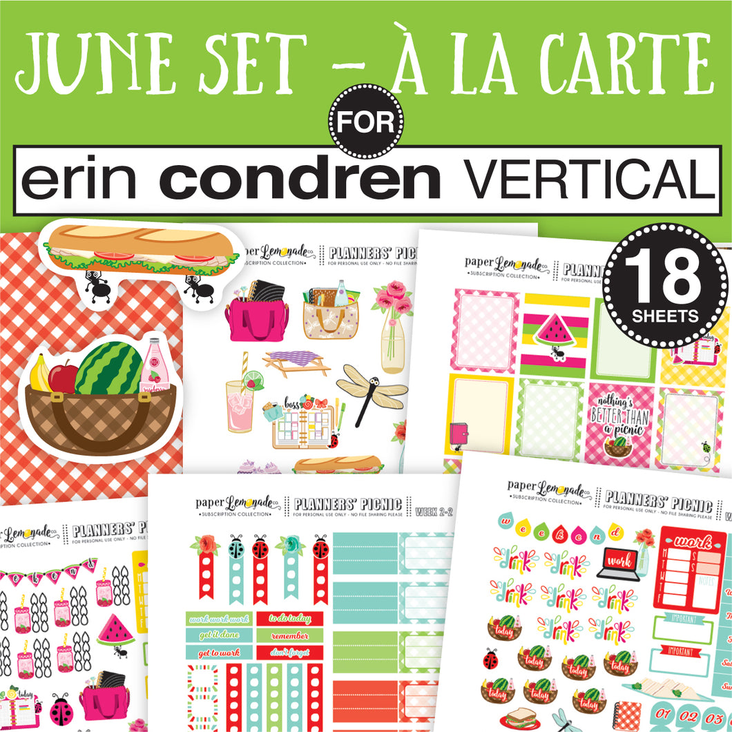 July Sticker Set sized for ERIN CONDREN VERTICAL - A la Carte