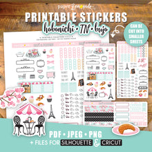 Hobonichi French cafe and blooms Printable Stickers Paris pastries croissant french cherry blossoms weekly kit
