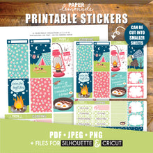 Camping Printable Stickers Weekly Kit - HP Sheet