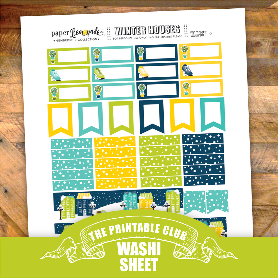 Winter Houses Printable Stickers - Washi Sheet
