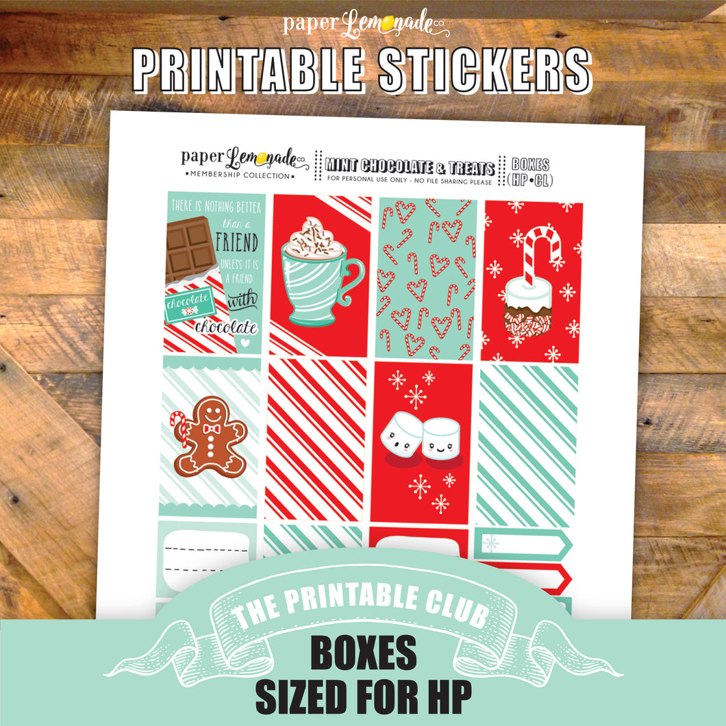Mint and Chocolate Printable Stickers - Box Sheet sized for HP Classic