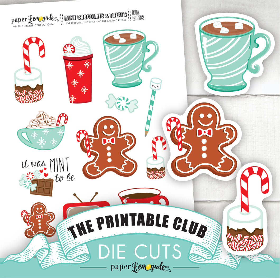 Printable Chocolate and Mint Treats Die Cuts 2