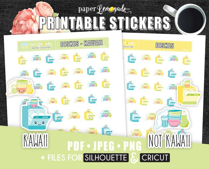 Washing dishes Printable Stickers dishwasher