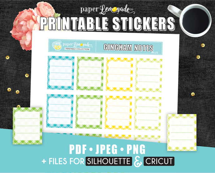 Gingham Notes Printable Stickers