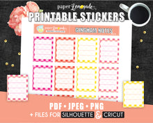 Gingham Notes Printable Stickers in Warm Colours - Erin Condren Size
