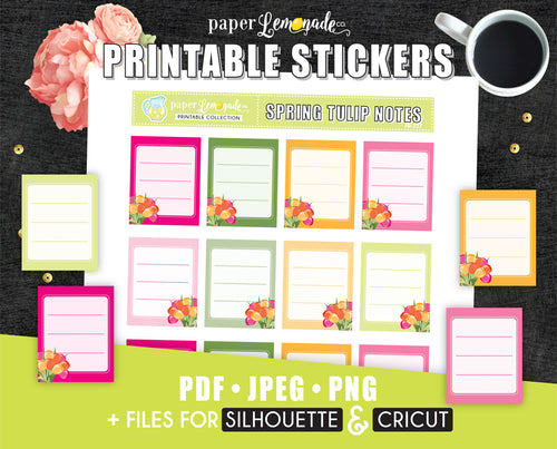 Tulip Note Printable Stickers