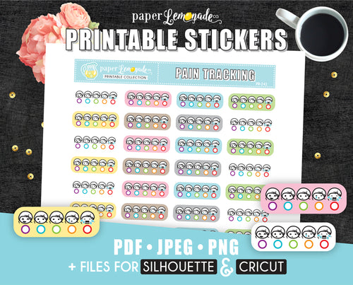 Printable Stickers Pain Tracking