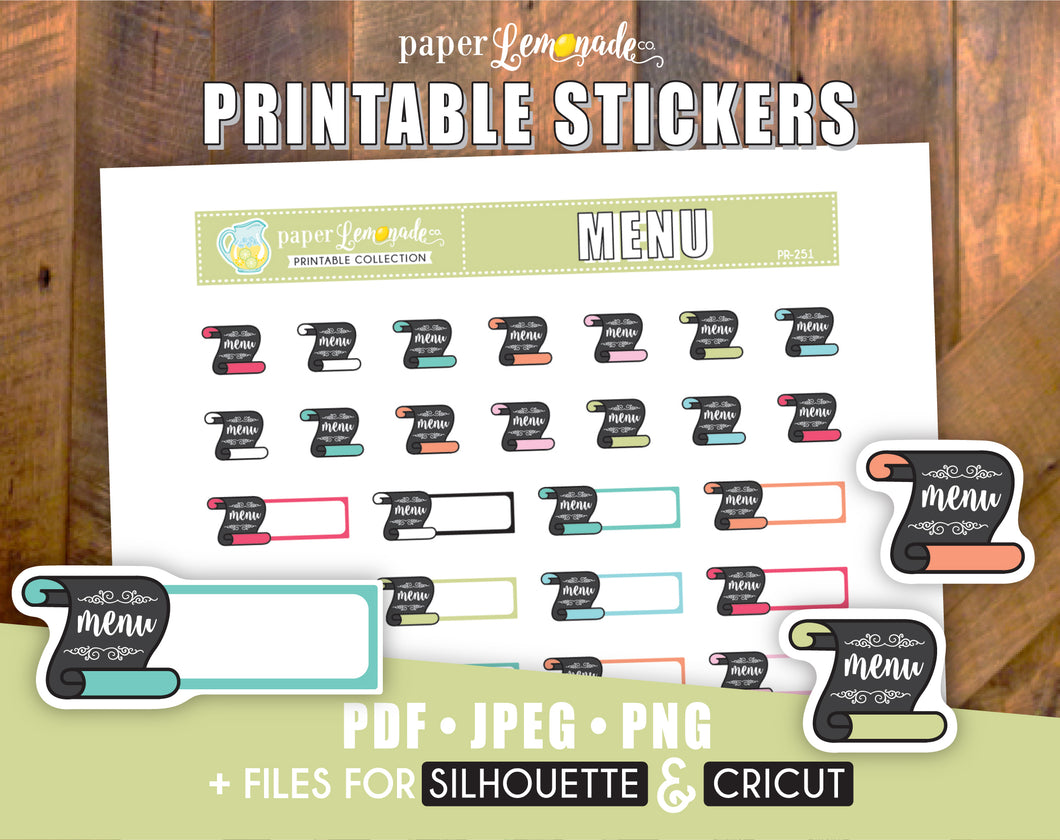Printable Menu Stickers