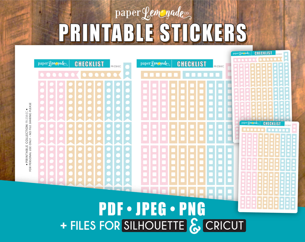 Checklist Printable Stickers for Erin Condren Vertical PR-258