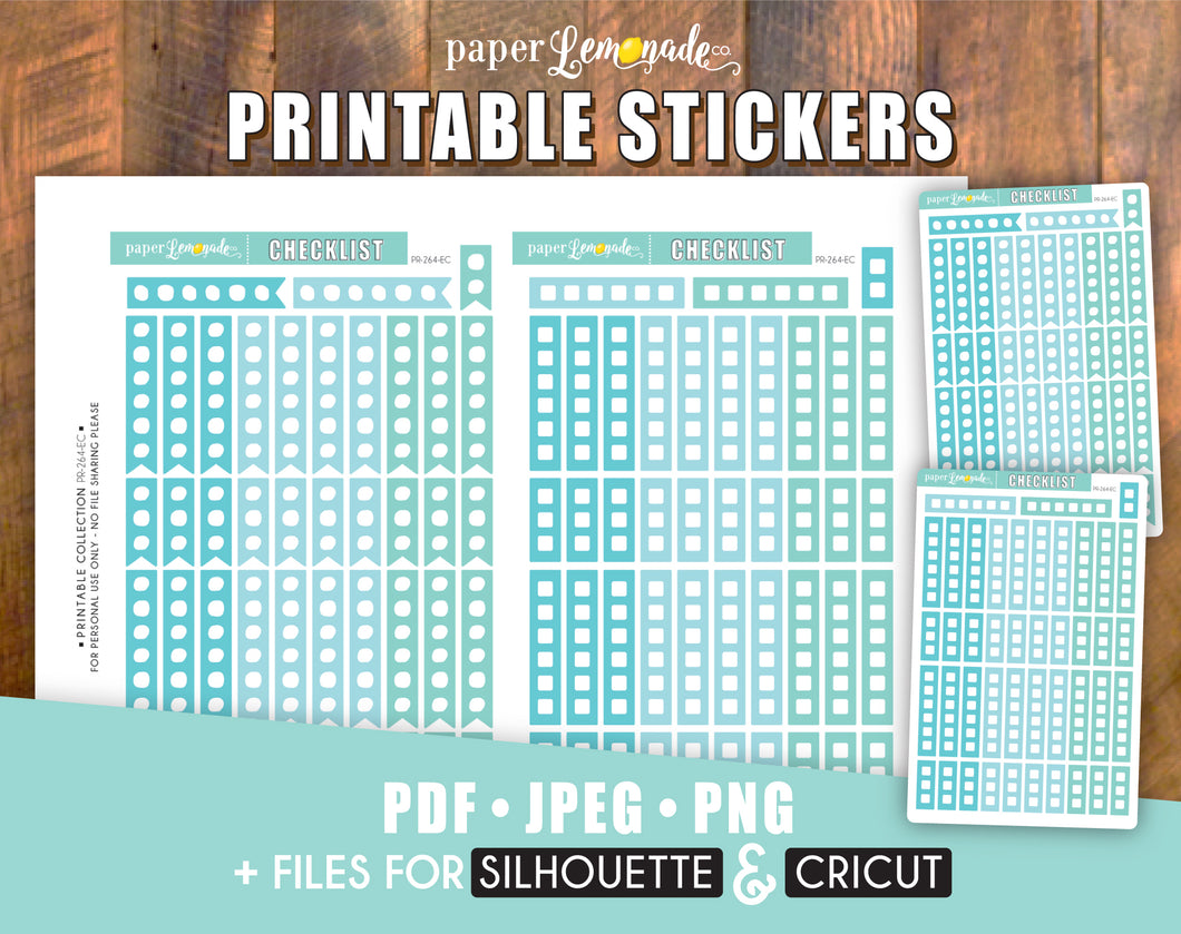 Checklist Printable Stickers Blue Sky Colours for Erin Condren Vertical PR-264