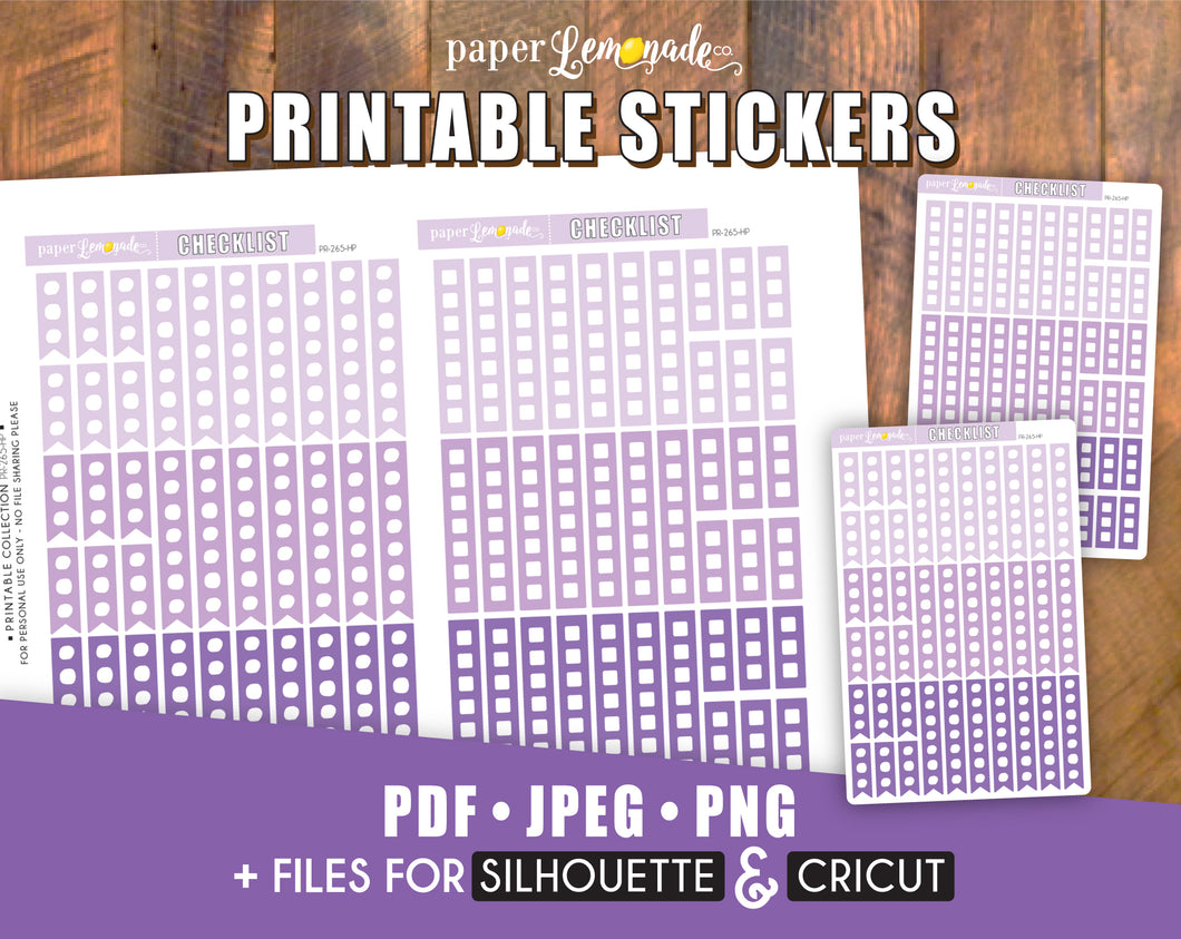 Checklist Printable Stickers Lilac Colours for Happy Planner Classic PR-265