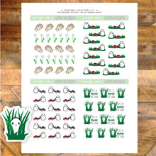 Printable Lawn Schmoo Stickers mow the lawn tall grass weeds gardening gloves Schmoo