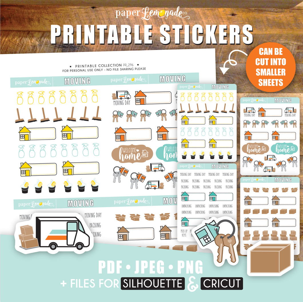 Moving day Printable Stickers new home packing boxes moving truck