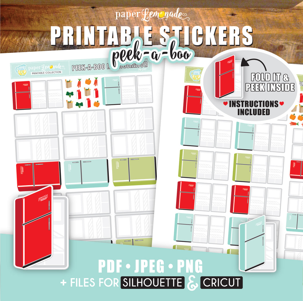 Printable Refrigerator Peek-A-Boo Stickers Grocery List