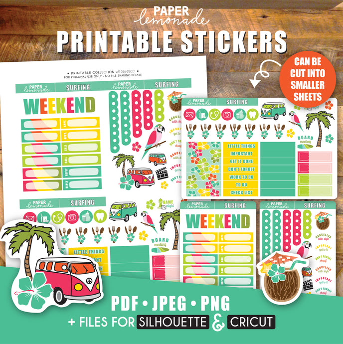 Surfing Printable Stickers Weekly Kit - Deco Sheet