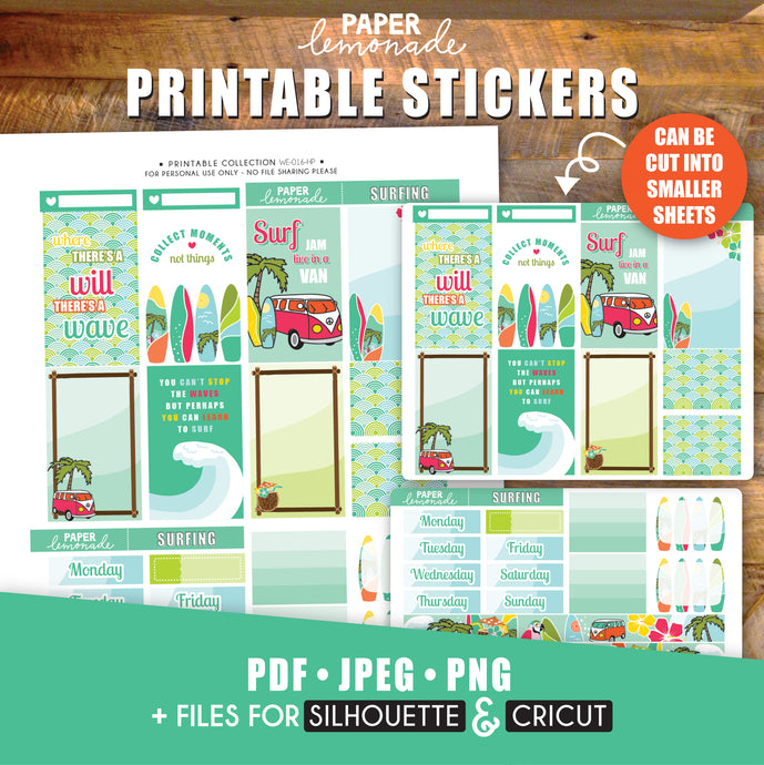 Surfing Printable Stickers Weekly Kit - HP Sheet