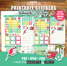 Surfing printable stickers for Hobonichi weekly kit