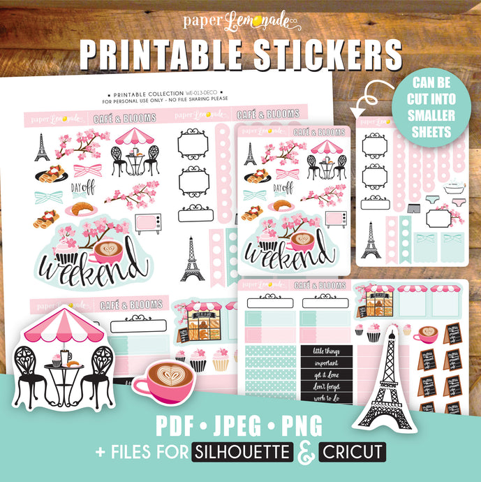 French café and Blooms Printable Stickers - DECO Sheet - cupcake and coffee