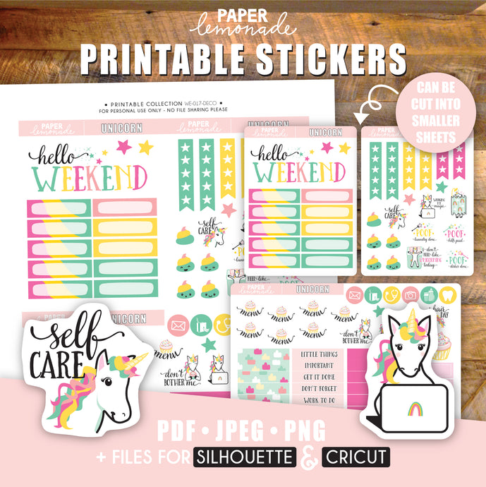 Unicorn Printable Stickers Weekly Kit - Deco Sheet