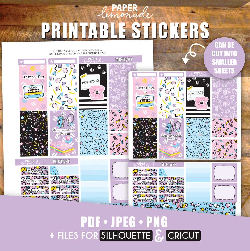 Mixtape 80's Printable Stickers Weekly Kit - HP Sheet