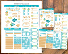 Tea Time Printable Stickers Blue and Brown - Deco