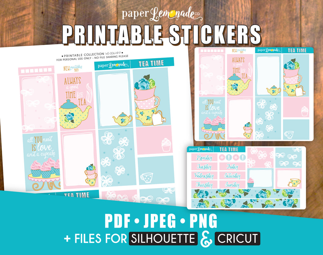 Tea Time Printable Stickers Pink and Blue - Boxes sized for HP Classic